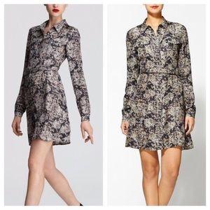 THEORY Silk Ananine snake lace shirt dress euc